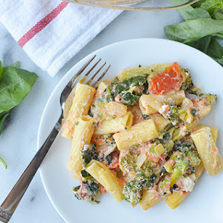 Baked Rigatoni with Broccoli and Kale.