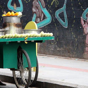 The Corn Seller by Nishtha C - People Street & Candids ( #corn, #work, #lady, #woman, #colour, #cart, #seller,  )