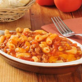 Macaroni, Hamburger And Tomato Casserole.