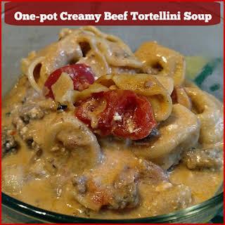 One-Pot Creamy Beef Tortellini Soup #Recipe.