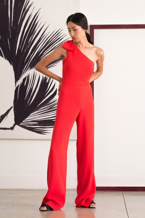 Saloni  red evening one shoulder jumpsuit