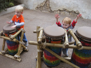 Photo: Day 5 - Inspired by the drummers at the street show in Africa, our boys decided to do their own drumming to rival that which they heard :-)