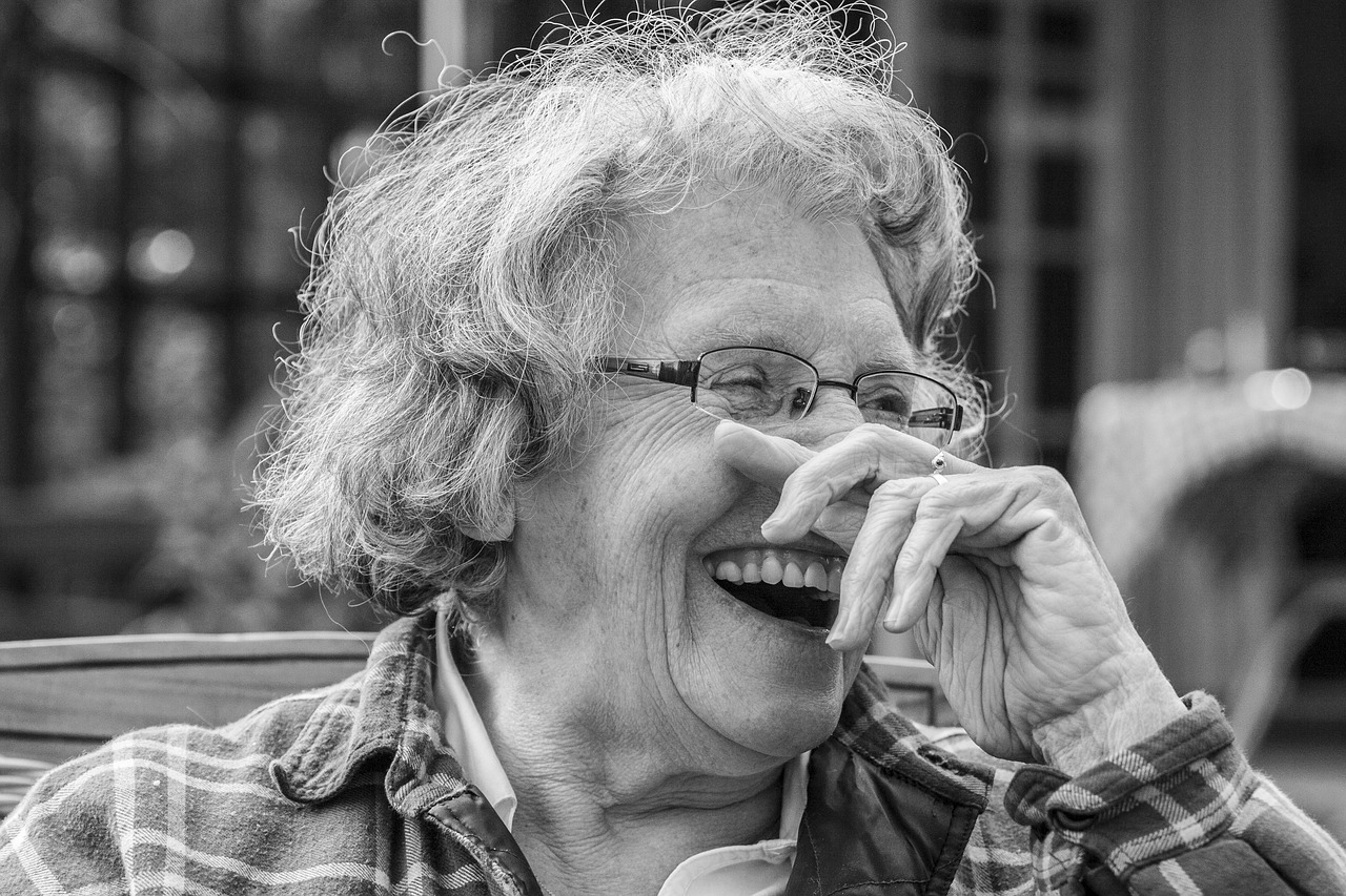 Senior woman laughing because it's good for her heart