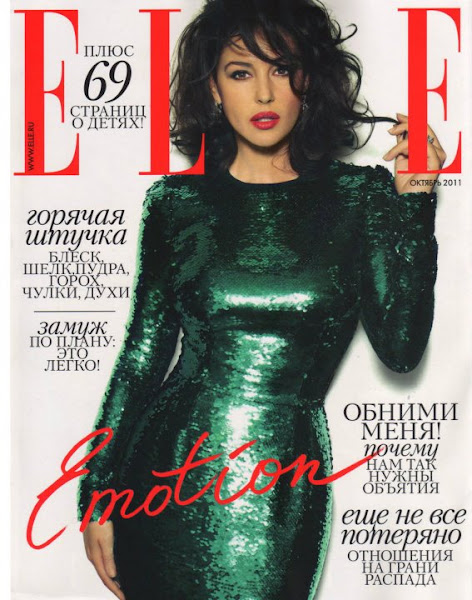 Photo: Monica Bellucci in Dolce&Gabbana green sequined dress on the cover of Elle Russia, October 2011