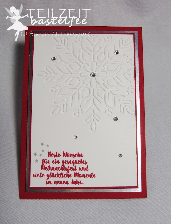 Stampin' Up! – In{k}spire_me #326, Color Challenge, Christmas, Weihnachten, Tage wie Weihnachten, Season like Christmas, Prägeform Schneekristall, Winter Wonder Embossing Folder