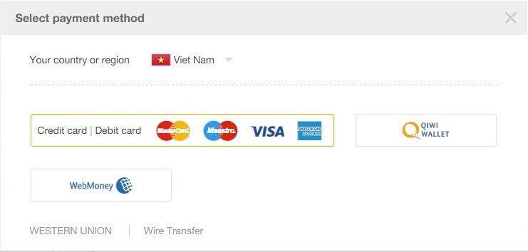 Hình thức thanh toán khi đặt hàng trên Aliexpress