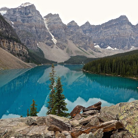Moraine Lake by Santford Overton - Landscapes Mountains & Hills ( clouds, mountains, sky, nature, reflections, trees, lake, landscapes, landscape, rocks,  )