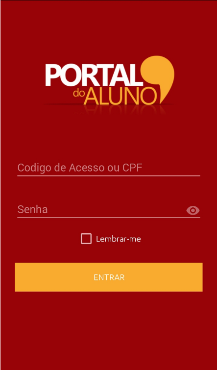 Portal do aluno IM: captura de tela