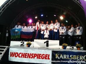 Photo: Podium VR8, Coupe du Monde et Championnats d'Europe 2011, Saarlouis, Argent et Or