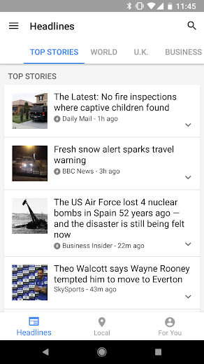 Screenshot 0 for Google News's Android app'
