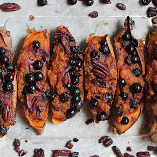 Twice Baked Sweet Potatoes with Blueberries and Pecans.