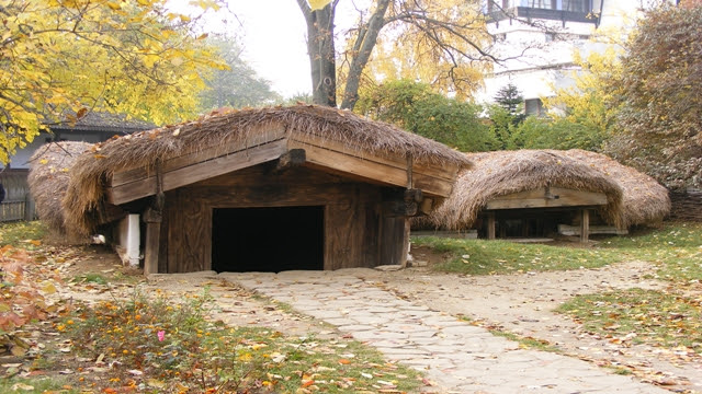 Houses underground in Bucharest Village Museum
