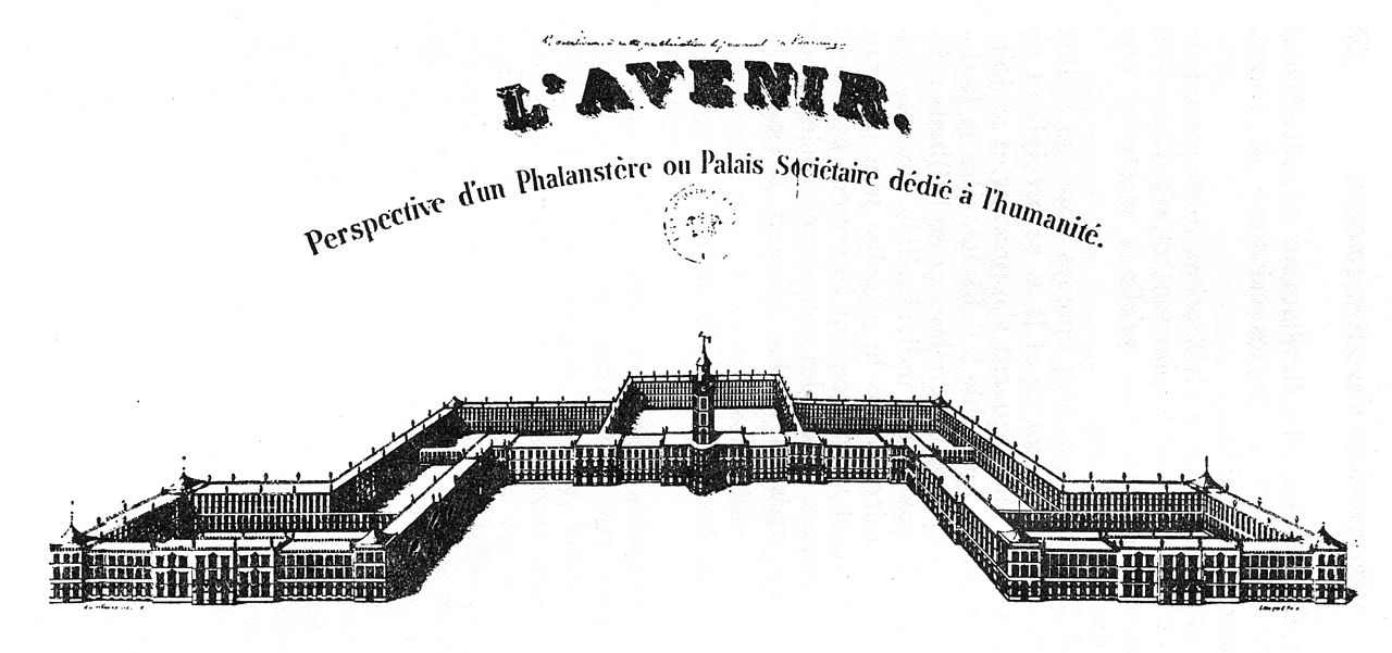 Illustration of a large building - the phalanx itself - described as a palace of humanity.