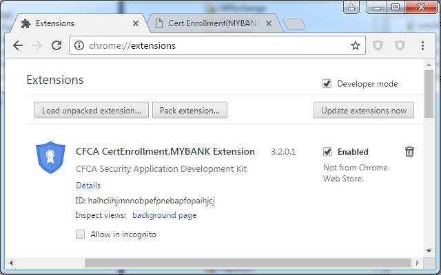 CFCA CertEnrollment.MYBANK Extension