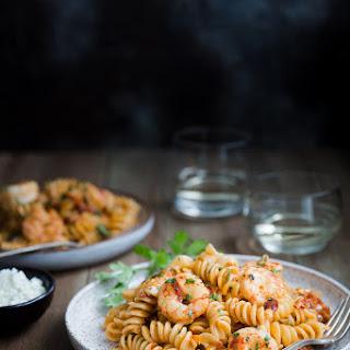 Pasta with Shrimp and Feta in Tomato Cream Sauce.