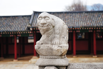 Photo: The two-tiered stone terrace (Woldae) is surrounded by stone railing with figures of the four guardians and twelve animals of the Chinese zodiac. This is a monkey, one of the zodiac animals.