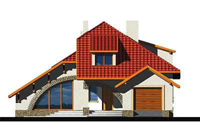 Wiera wersja A z pojedynczym garażem - Elewacja przednia