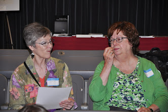 Photo: Connie Hutchison and Ida Freilinger enjoying snacks.
