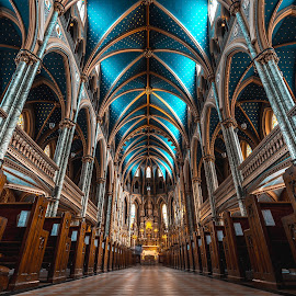Church by Marc-Olivier Jodoin - Buildings & Architecture Architectural Detail ( religion, god, spiritual, church, faith, colorful, magical, jesus, inside, wide, hope )