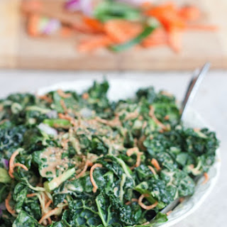 Spiralized Carrots and Cucumber Kale Salad with Peanut Sauce