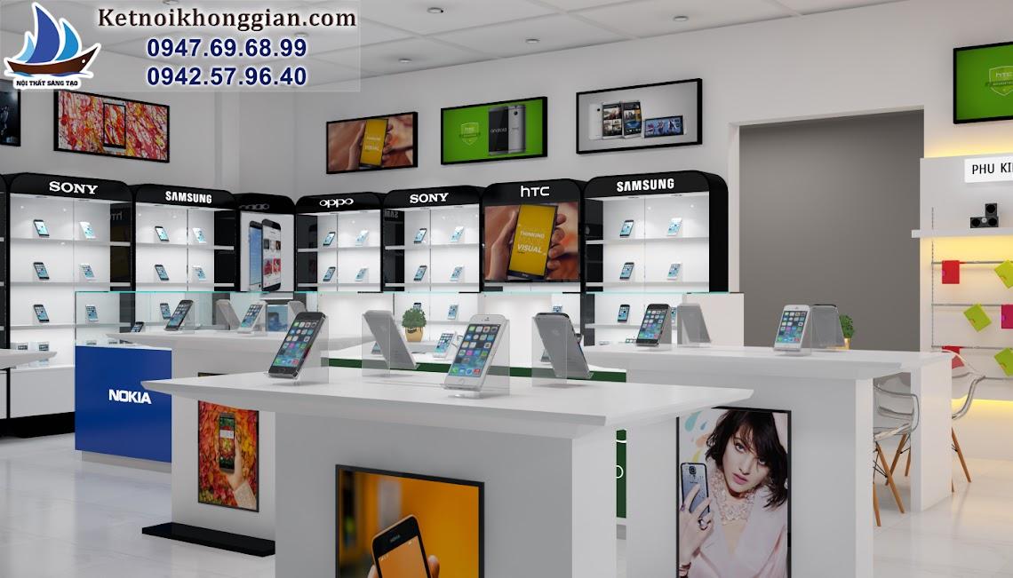 thiết kế cửa hàng điện thọi di động sáng trắng