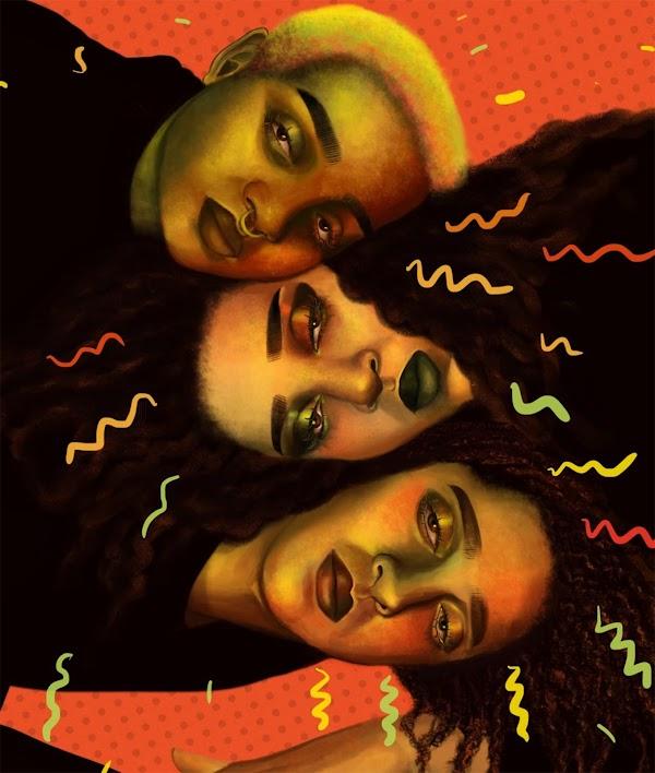 Ilustración de tres cabezas una al lado de la otra con garabatos de color rojo, amarillo, anaranjado y verde que las rodean.