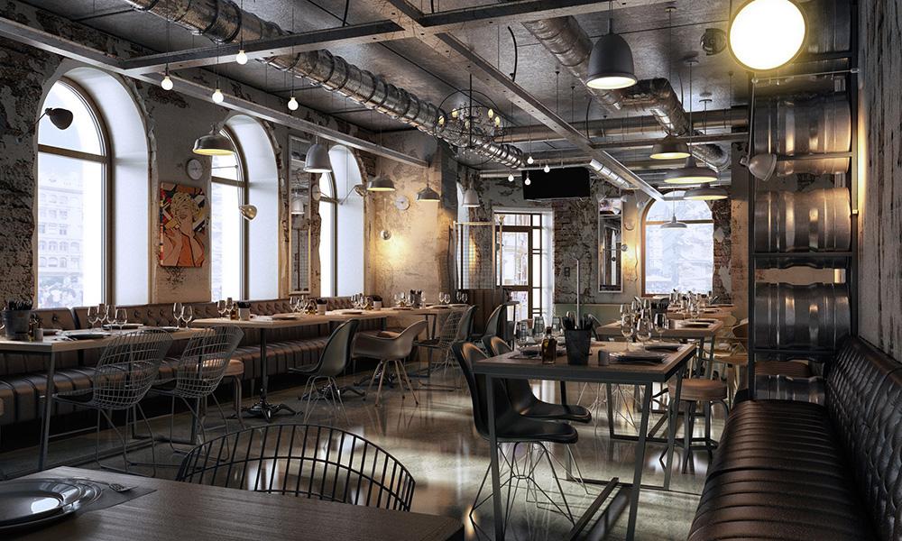 Restoran dengan konsep interior industrial yang minimalis dan terlihat lapang - source: behance.net