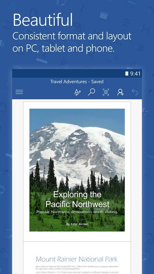 Screenshots of Microsoft Word for iPhone
