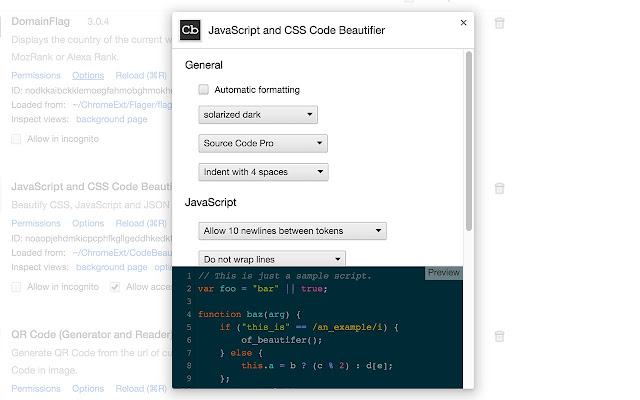 JavaScript and CSS Code Beautifier