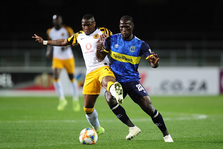 Siphelele Mthembu of Cape Town City is challenged by George Maluleka of Kaizer Chiefs during the Absa Premiership 2019/20 game between Cape Town City and Kaizer Chiefs at Newlands Stadium in Cape Town on 27 August 2019.
