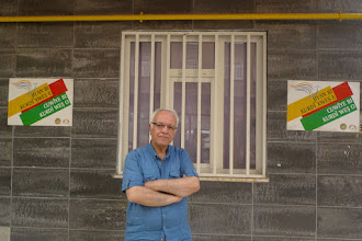 Photo: Ibrahim Xelil, a Kurdish language teacher in front of Kurdi Der where he works, Diyarbakir 2015.