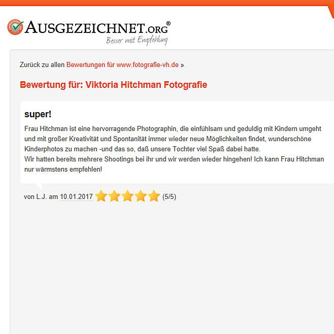 Kundenbewertung von Viktoria Hitchman Fotograf aus Heidelberg.