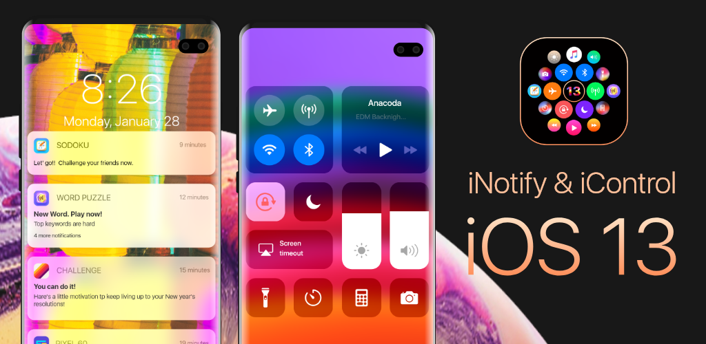 Download iNotify & Control Center iOS13 (Music Control) APK latest
