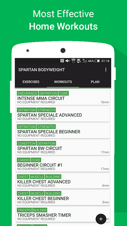 Spartan Body Weight Home Workouts Free Screenshot
