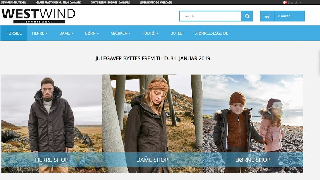 Westwind webshop Aps Outdoor Sports Store in Varde