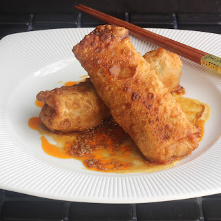Crawfish Egg Rolls With Hot Sesame Drizzle.