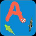 Worm alphabet for dyslexia icon
