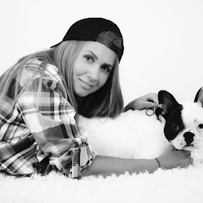 Franco & Did by Lazarina Karaivanova - Black & White Portraits & People ( girl, dog )