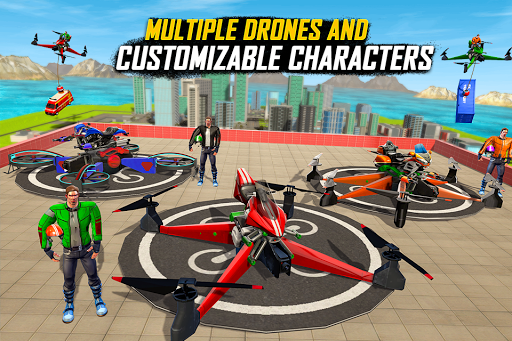 Drone Rescue Simulator: Flying Bike Transport Game android2mod screenshots 2