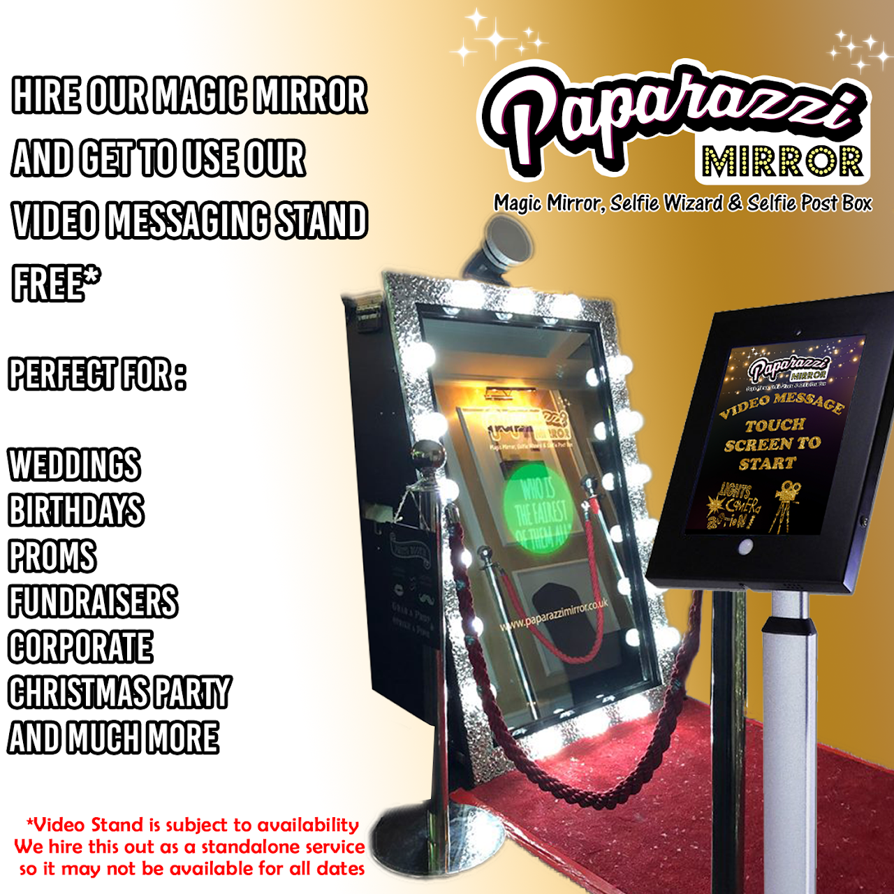 Paparazzi Mirror - Magic Mirror Hire - Party Equipment Rental Service