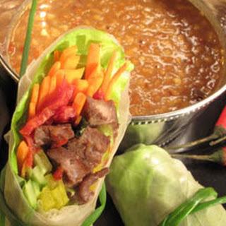 Thai-Italian Spring Rolls with Peanut Dipping Sauce.