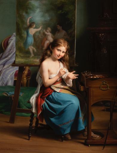 Fritz Zuber-Bühler - Portrait d'une jeune fille dans son atelier
