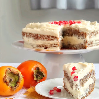 Persimmon Cake With Pomegranate Frosting