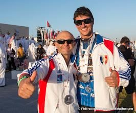 Photo: David Malézé (à gauche) et Julien Guiho (à droite), 4 médailles en Pilotage sous Voile - 4ème DIPC 2013