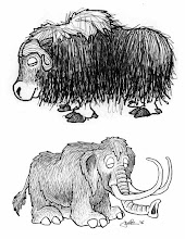 Photo: Musk Ox & Mammoth (pen & ink sketch)