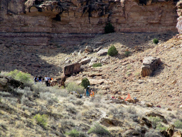 Volunteers participating in an archaeological dig at Fremont Village