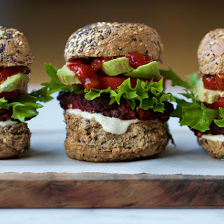 Beetroot, Basil and Black Bean Burgers