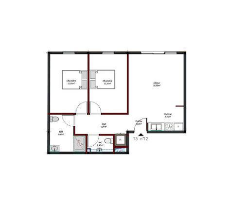 Location appartement 3 pièces 62,81 m2