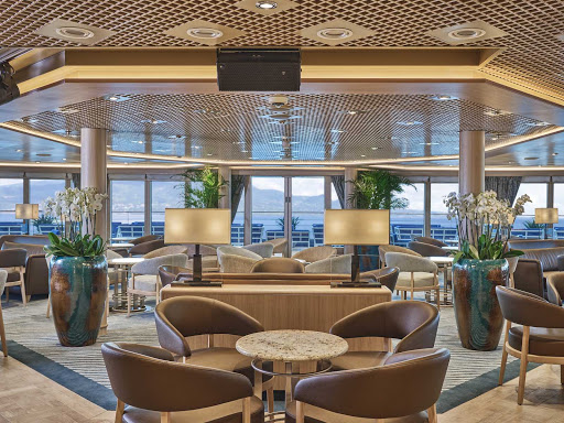 The interior of the peaceful Panorama Lounge on Silversea's Silver Moon.