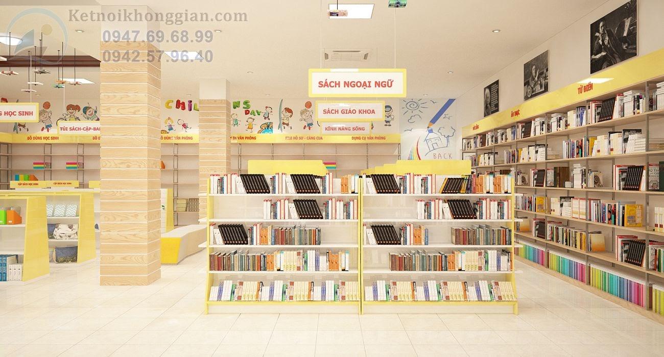 thiết kế nội thất nhà sách cao cấp, chất lượng